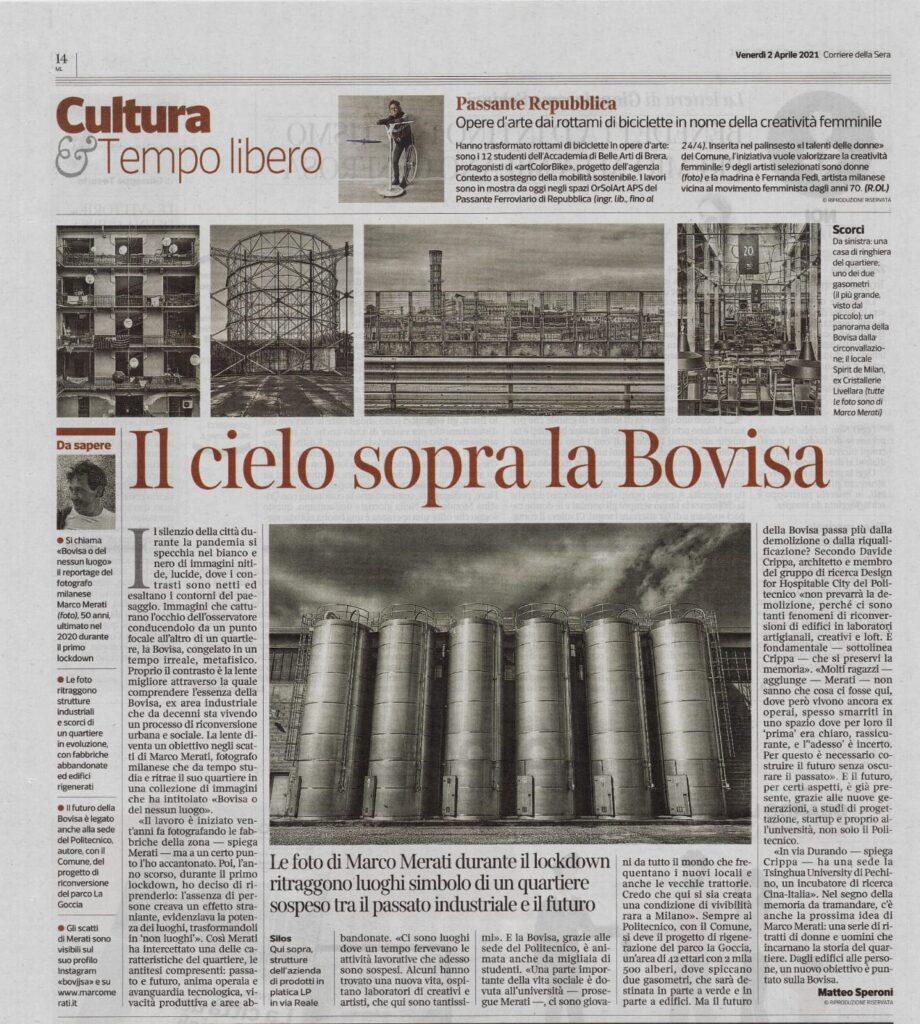 Pubblicazione sul Corriere della Sera, Marco Merati fotografo Milano racconta il progetto fotografico realizzato nei pressi della Bovisa durante il lockdown